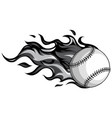 monochromatic baseball with flames in white vector image vector image