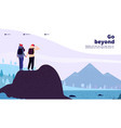 outdoor adventure landing couple with backpack vector image vector image