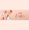pink copper easter eggs luxury web banner vector image vector image