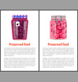 preserved food poster canned plums sweet berries vector image