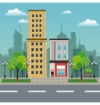 residential building store urban street vector image vector image