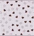 school copybook pattern hearts envelopes stars vector image