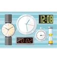 set colorful clocks icons vector image