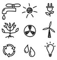 set hand drawn black eco doodle icons vector image
