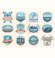 set mountain expedition patch concept vector image vector image