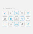 set of 15 editable meal icons line style includes vector image vector image