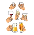 Set of different glass stemware in hand vector image
