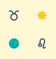 set of icons flat style symbols with leo su vector image