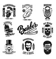 set of vintage barber shop emblems badges and vector image