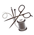 sewing kit silhouette vector image vector image