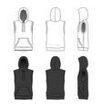 sleeveless hoody in white and black colors vector image vector image