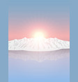 snowy mountains at sunrise vector image vector image