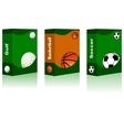 Sport box - Golf Basketball Soccer Ball vector image vector image
