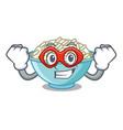 super hero rice bowl character cartoon vector image