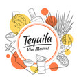 tequila background and template shapes red and vector image