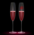 two glasses and one kiss vector image vector image