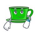 waiting green tea mascot cartoon vector image