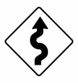 winding road traffic sign vector image vector image