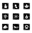Winter holiday icons set grunge style vector image