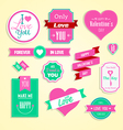 Happy valentines day cards element set vector image