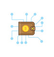 brown bitcoin wallet and mining concept vector image