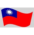 Flag of Taiwan waving on gray background vector image