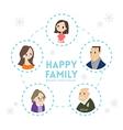 big happy family portrait cartoon vector image