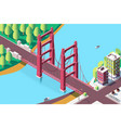 3d isometric classic new york bridge with urban vector image