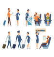 airplane passengers stewardess in uniform vector image vector image