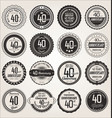 anniversary retro labels collection 40 years vector image vector image