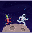 astronaut and alien spaceman runs away from vector image