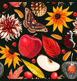 autumn pattern with leaves and flowers vector image vector image
