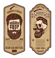 barber shop flyer template barbers skull and vector image vector image