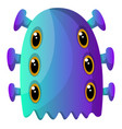 blue monster with six eyes on white background vector image vector image