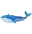 Blue whale with lettering King of Ocean is vector image