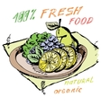 bowl of fruit Healthy eating Drawn by hand vector image
