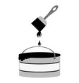 brush icon bucket paint and drops vector image vector image