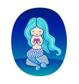 cartoon mermaid sitting on a rock with heart in vector image vector image