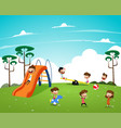 children playing in the playground vector image vector image
