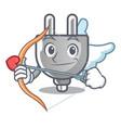 cupid power plug stuck the cartoon wall vector image