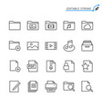 file management line icons editable stroke vector image