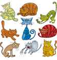 funny cats set vector image vector image