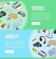 gadgets and computer devices isometric posters vector image vector image