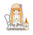 girl communion wearing dress with candle and vector image vector image