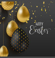 gold glitter easter eggs luxury greeting card vector image vector image