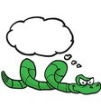 green snake with thought bubble vector image vector image