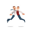 happy office workers jumping vector image vector image