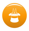 hat with a rabbit ear icon orange vector image