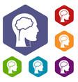 head with brain icons set hexagon vector image vector image
