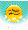 hello summer beautiful background design vector image vector image